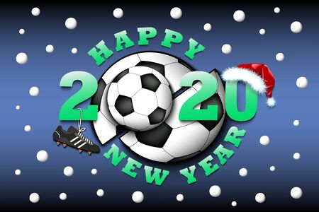 Happy new year 2020 and soccer ball with football boot and Christmas hat. Creative design pattern for greeting card, banner, poster, flyer, party invitation, calendar. Vector illustration
