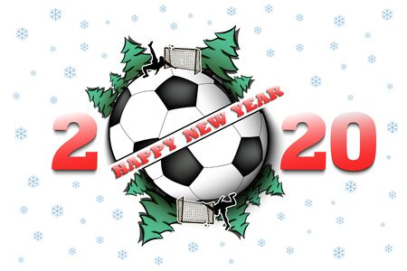 Happy new year 2020 and soccer ball with Christmas trees on an isolated background. Football player scores a goal. Design pattern for greeting card. Vector illustration Illusztráció
