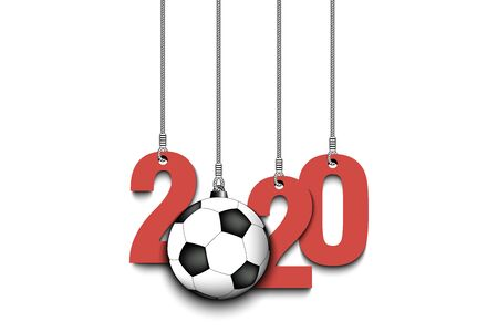 2020 New Year and soccer ball as a Christmas decorations hanging on strings. 2020 hang on cords on an isolated green background. Design pattern for greeting card. Vector illustration