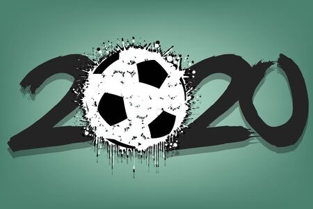 Abstract numbers 2020 and a soccer ball from blots. 2020 New Year on an isolated white background. Design pattern for greeting card. Grunge style. Vector illustration Illusztráció