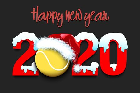 Snowy New Year numbers 2020 and tennis ball in a Christmas hat on an isolated background. Creative design pattern for greeting card, banner, poster, flyer, party invitation. Vector illustration