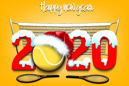 Snowy New Year numbers 2020  and tennis ball in a Christmas hat with tennis rackets on the background of the mesh. Creative design pattern for greeting card, banner, poster, flyer. Vector illustration Ilustracja