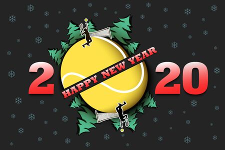 Happy new year 2020 and tennis ball with Christmas trees on an isolated background. Tennis player serves the ball. Design pattern for greeting card. Vector illustration Illusztráció