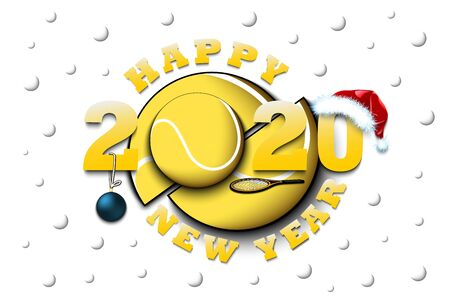 Happy new year 2020 and tennis ball with racket and Christmas hat. Creative design pattern for greeting card, banner, poster, flyer, party invitation, calendar. Vector illustration Illusztráció