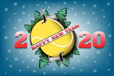 Happy new year 2020 and tennis ball with Christmas trees on an isolated background. Tennis player serves the ball. Design pattern for greeting card. Vector illustration Ilustrace