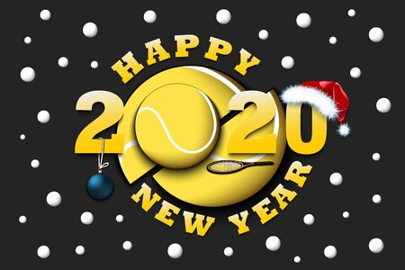 Happy new year 2020 and tennis ball with racket and Christmas hat. Creative design pattern for greeting card, banner, poster, flyer, party invitation, calendar. Vector illustration Ilustrace