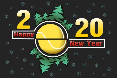 Happy new year 2020 and tennis ball with Christmas trees on an snowflakes background. Creative design pattern for greeting card, banner, poster, flyer, party invitation, calendar. Vector illustration