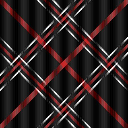 Christmas and new year tartan plaid. Scottish diagonal pattern in black, red and white cage. Scottish cage. Traditional Scottish checkered background. Seamless fabric texture. Vector illustration
