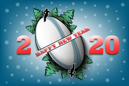 Happy new year 2020 and rugby ball with Christmas trees on an isolated background. Rugby player. Design pattern for greeting card. Vector illustration