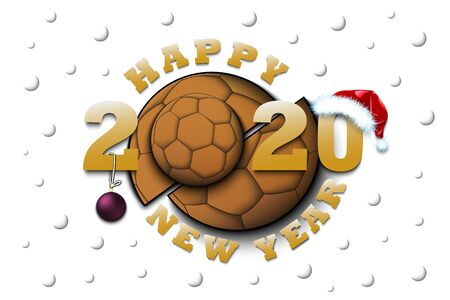 Happy new year 2020 and handball ball with Christmas ball and hat. Creative design pattern for greeting card, banner, poster, flyer, party invitation, calendar. Vector illustration