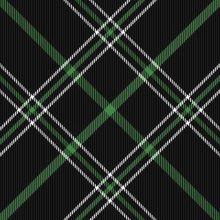 Christmas and new year tartan plaid. Scottish diagonal pattern in black, green and white cage. Scottish cage. Traditional Scottish checkered background. Seamless fabric texture. Vector illustration