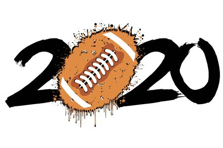Abstract numbers 2020 and a football ball from blots. 2020 New Year on an isolated background. Design pattern for greeting card. Grunge style. Vector illustration