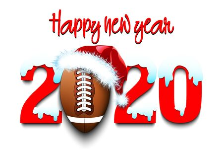 Snowy New Year numbers 2020 and football ball in a Christmas hat and helmet on an isolated background. Creative design pattern for greeting card, banner, poster, flyer, invitation. Vector illustration