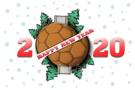 Happy new year 2020 and handball ball with Christmas trees on an isolated background. Handball player scores a goal. Design pattern for greeting card. Vector illustration