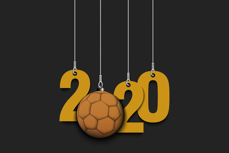 2020 New Year and handball ball as a Christmas decorations hanging on strings. 2020 hang on cords on an isolated green background. Design pattern for greeting card. Vector illustration