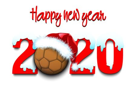 Snowy New Year numbers 2020 and handball ball in a Christmas hat on an isolated background. Creative design pattern for greeting card, banner, poster, flyer, party invitation. Vector illustration