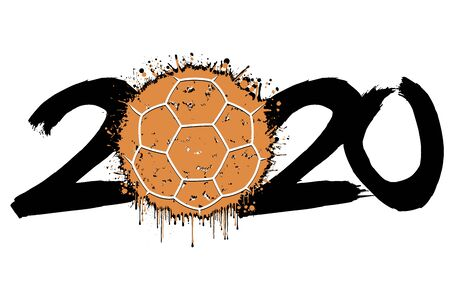 Abstract numbers 2020 and a handball ball from blots. 2020 New Year on an isolated background. Design pattern for greeting card. Grunge style. Vector illustration