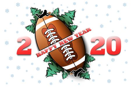 Happy new year 2020 and football ball with Christmas trees on an isolated background. Rugby player. Design pattern for greeting card. Vector illustration