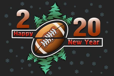 Happy new year 2020 and football ball with Christmas trees on an snowflakes background. Creative design pattern for greeting card, banner, poster, flyer, party invitation. Vector illustration