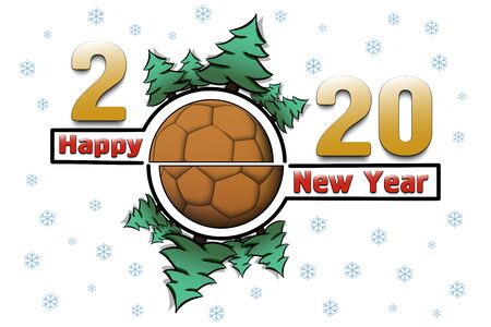 Happy new year 2020 and handball ball with Christmas trees on an snowflakes background. Creative design pattern for greeting card, banner, poster, flyer, party invitation. Vector illustration
