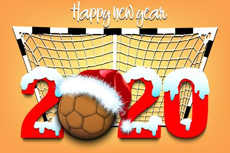 Snowy New Year numbers 2020 and handball ball in a Christmas hat on the background of the gate. Creative design pattern for greeting card, banner, poster, flyer, party invitation. Vector illustration
