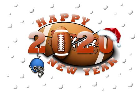 Happy new year 2020 and football ball with helmet and Christmas hat. Creative design pattern for greeting card, banner, poster, flyer, party invitation, calendar. Vector illustration Stock Illustratie