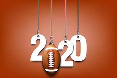 2020 New Year and football ball as a Christmas decorations hanging on strings. 2020 hang on cords on an isolated background. Design pattern for greeting card. Vector illustration