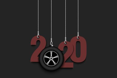 2020 New Year and car wheel as a Christmas decorations hanging on strings. 2020 hang on cords on an isolated background. Design pattern for greeting card. Vector illustration