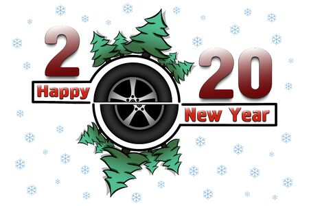 Happy new year 2020 and car wheel with Christmas trees on an snowflakes background. Creative design pattern for greeting card, banner, poster, flyer, party invitation. Vector illustration