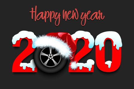 Snowy New Year numbers 2020 and car wheel in a Christmas hat on an isolated background. Creative design pattern for greeting card, banner, poster, flyer, party invitation. Vector illustration