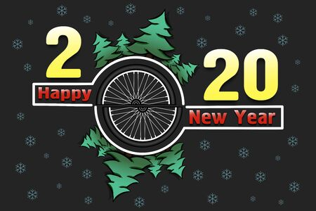 Happy new year 2020 and bicycle wheel with Christmas trees on an snowflakes background. Creative design pattern for greeting card, banner, poster, flyer, party invitation. Vector illustration Stock Illustratie