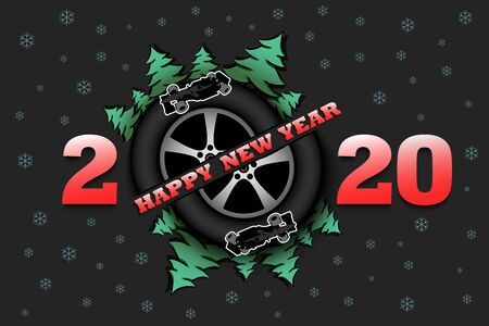 Happy new year 2020 and car wheel with Christmas trees and racing car on an isolated background. Design pattern for greeting card. Vector illustration