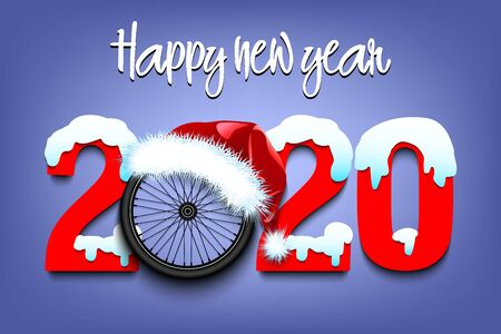 Snowy New Year numbers 2020 and bicycle wheel in a Christmas hat on an isolated background. Creative design pattern for greeting card, banner, poster, flyer, party invitation. Vector illustration
