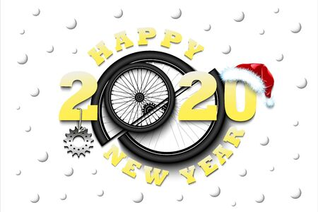 Happy new year 2020 and bicycle wheel with bicycle star and hat. Creative design pattern for greeting card, banner, poster, flyer, party invitation, calendar. Vector illustration