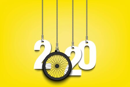 2020 New Year and bicycle wheel as a Christmas decorations hanging on strings. 2020 hang on cords on an isolated background. Design pattern for greeting card. Vector illustration