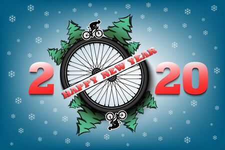 Happy new year 2020 and bicycle wheel with Christmas trees on an isolated background. Cyclist in motion. Design pattern for greeting card. Vector illustration Stock Illustratie