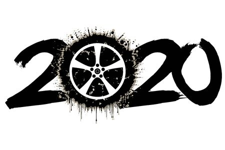 Abstract numbers 2020 and a car wheel from blots. 2020 New Year on an isolated background. Design pattern for greeting card. Grunge style. Vector illustration