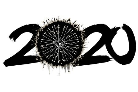 Abstract numbers 2020 and a bicycle wheel from blots. 2020 New Year on an isolated background. Design pattern for greeting card. Grunge style. Vector illustration Stock Illustratie