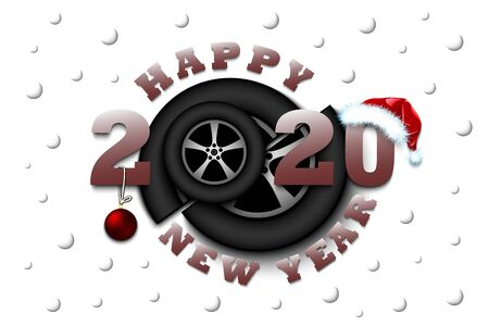 Happy new year 2020 and car wheel with Christmas ball and hat. Creative design pattern for greeting card, banner, poster, flyer, party invitation, calendar. Vector illustration