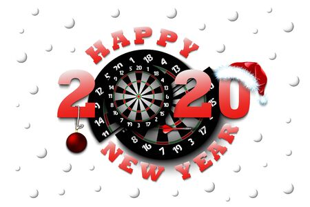 Happy new year 2020 and dartboard with Christmas ball, dart and hat. Creative design pattern for greeting card, banner, poster, flyer, party invitation, calendar. Vector illustration