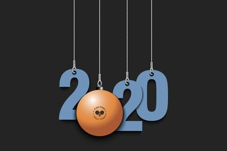 2020 New Year and  a ball as a Christmas decorations hanging on strings. 2020 hang on cords on an isolated background. Design pattern for greeting card. Vector illustration Illustration