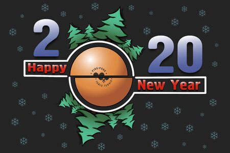 Happy new year 2020 and a ball with Christmas trees on an snowflakes background. Creative design pattern for greeting card, banner, poster, flyer, party invitation. Vector illustration