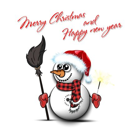 Merry Christmas and happy new year. Snowman from white balls on an isolated background. Pattern for banner, poster, greeting card, party invitation. Vector illustration
