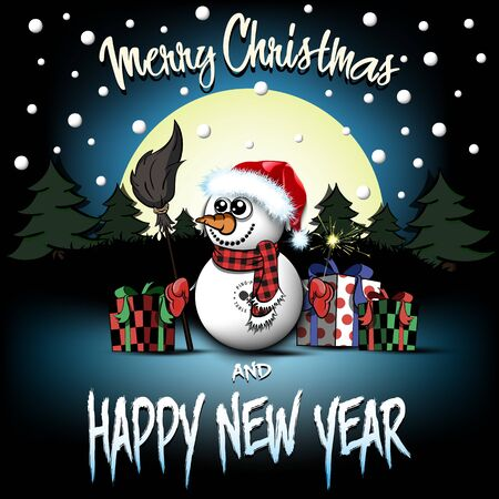 Christmas and new year pattern. Snowman from white  balls with broom and sparklers, gift boxes, firs on the background of the moon and snowflakes. Design pattern for greeting card. Vector illustration Zdjęcie Seryjne - 138451955