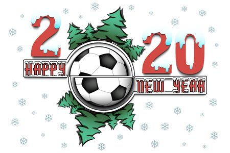 Happy new year 2020 and soccer ball with Christmas trees on an isolated background. Snowy numbers and letters. Design pattern for greeting card, banner, poster, flyer, invitation. Vector illustration