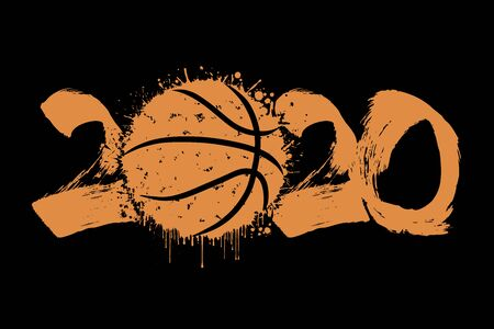 Abstract numbers 2020 and basketball ball made of blots in grunge style. 2020 New Year on an isolated background. Design pattern. Vector illustration