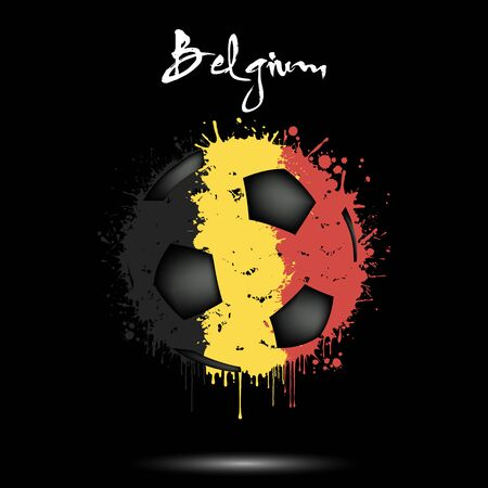 Abstract soccer ball painted in the colors of the Belgium flag. Flag of Italy in the form of a soccer ball made of blots on an isolated background. Design pattern in grunge style. Vector illustration