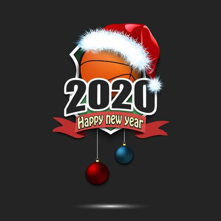 Happy new year 2020. Basketball logo template design. Basketball ball in santa hat. Pattern for banner, poster, greeting card, party invitation. Vector illustration