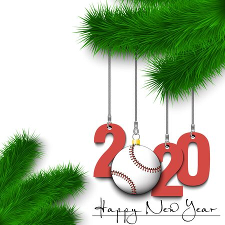 Happy New Year. Numbers 2020 and baseball ball as a Christmas decorations hanging on a Christmas tree branch. Design pattern for greeting card, banner, poster, flyer, invitation. Vector illustration