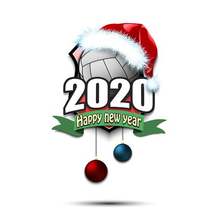 Happy new year 2020. Volleyball logo template design. Volleyball ball in santa hat. Pattern for banner, poster, greeting card, party invitation. Vector illustration Ilustração